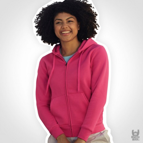 Fruit of the Loom Lady Fit Band Hooded Sweat Jacke