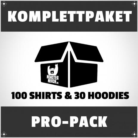 Pro-Pack: 100 bedruckte Bandshirts & 30 Hoodies