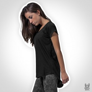 Build Your Brand Ladies Long Slub Tee