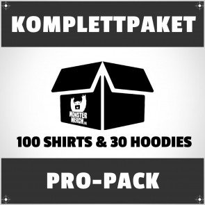 Pro-Pack: 100 bedruckte Bandshirts & 30 Hoodies