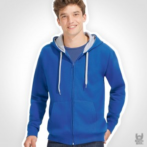 Contrasted Zipped Hooded Jacket
